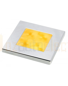 Hella 2XT980588071 Amber LED Square Courtesy Lamp (24V DC, Chrome Plated Rim)