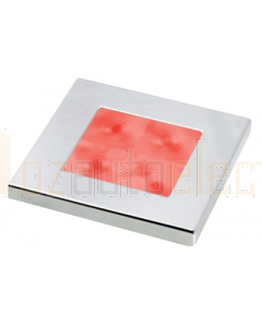 Hella 2XT980587271 Red LED Square Courtesy Lamp (12V DC, Chrome Plated Rim)