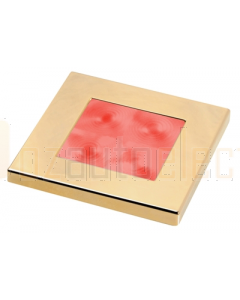 Hella 2XT980588231 Red LED Square Courtesy Lamp (24V DC, Gold Plated Rim )