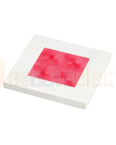Hella Red LED Square Courtesy Lamp (24V DC, White Plastic Rim)