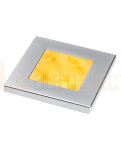 Hella 2XT980588061 Amber LED Square Courtesy Lamp (24V DC, Satin Chrome Plated Rim)