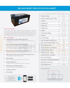 Sentry 24V 150AH Lithium Battery with Bluetooth Monitoring