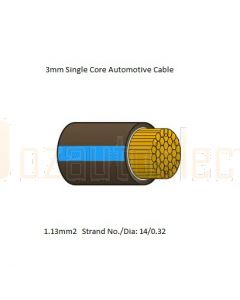 3mm Single Core Cable Brown with Blue Tracer 1m -Cut to length