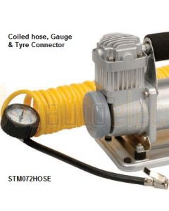 Projecta STM072HOSE Storm Air Compressor Replacement Coiled Hose, Gauge & Tyre Connector