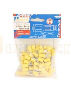 Aerpro TF43Y 4.3Mm Fork Terminals Yellow