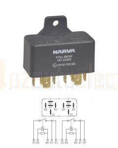 Narva 68042 12V 30/30 Amp 5/5 Pin Twin Normal Open Relay