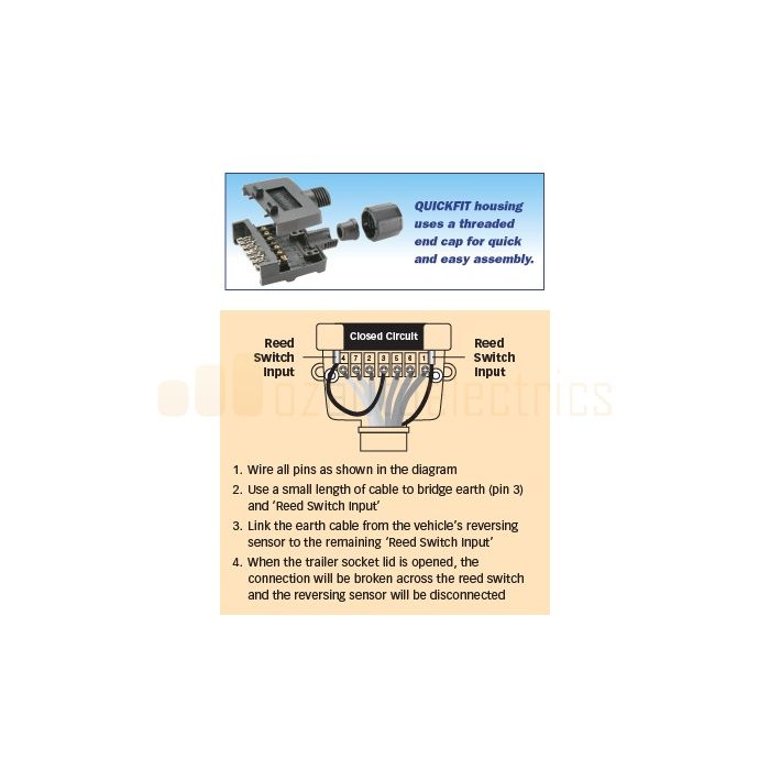 7 Pin Flat Quickfit Trailer Socket, Narva 7 Pin Flat Trailer Plug Wiring Diagram